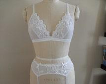 Sheer Mesh Bralette with Hand Beaded Lace, Bridal Lingerie, Sheer Bra Sets, White Wedding Underwear, Honeymoon Trousseau, Custom Lingerie