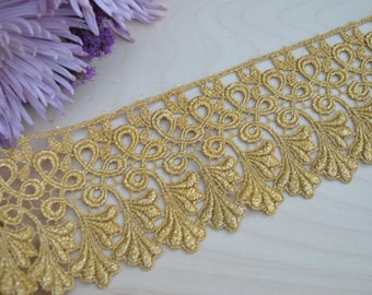 Pompeia's Gold Metallic Lace Intricate Design and Leaf Motif- Regal Fit For a King- Metallic Venise Lace
