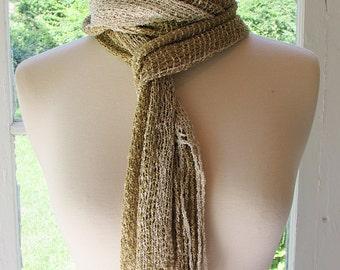 Tan and cream silk bouche scarf