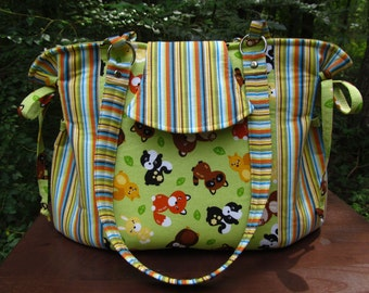 READY to SHIP *** Small/Medium Baby Bag/Diaper Bag-Stripes and Forest Animals
