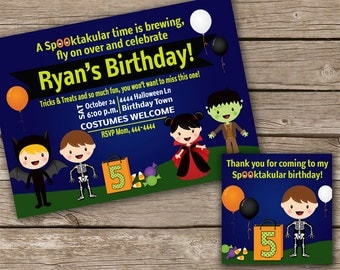 Halloween Birthday or Kids Halloween Party Invitation and Favor Bag Tags