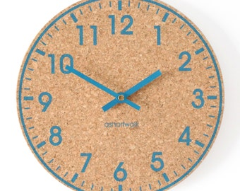 Wall Clock - Eco friendly cork - Blue with Blue hands
