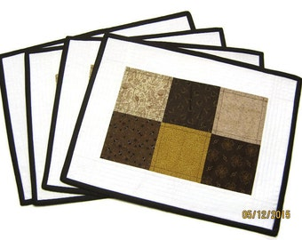 Placemats, Brown Placemats, Table Mats, Kitchen Table Mats, Quilted placemats, Brown place mat, Brown table mats  Item #142