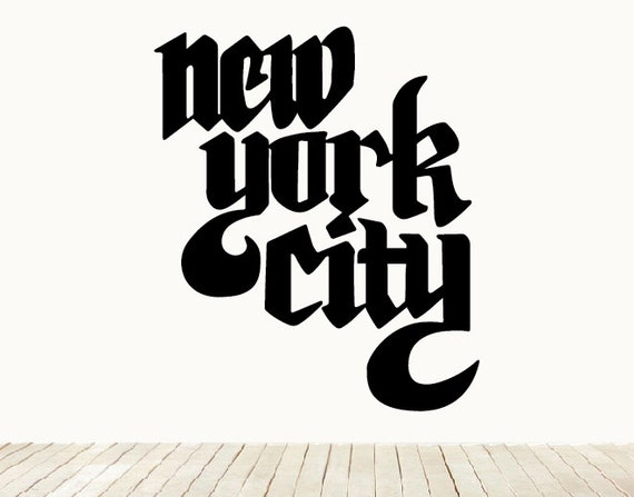 New York City Lettering Calligraphy Wall Art Home Decor Decal