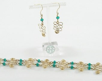 Bracelet And Earring Set - Spirals, Squiggles, And Emeralds (S015)
