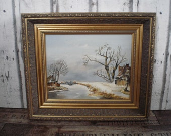 Dutch winter landscape painting