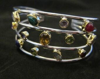 Ruby Emerald Citrine Topaz Sapphire Sterling Silver Bracelet (54)