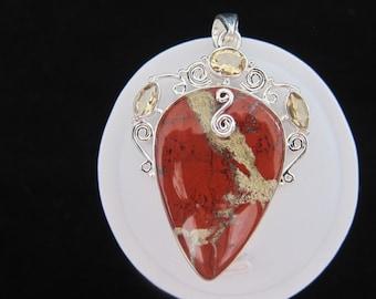Red Jasper Citrine Sterling Silver Pendant (164)