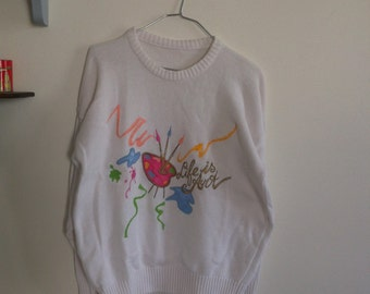 80s 90s white summer knit sweater painting pattern, small / medium