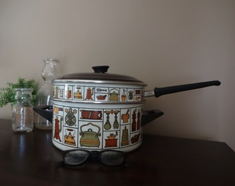 Vintage Enamel Double Boiler Made In Yugoslavia With Very Cute Print. Pot and Pan Set, Great for Retro Kitchen Decor