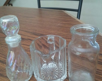 potpourri trio sale glass perfume bottle, clear glass bottle and pitcher