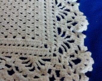 Crocheted White Ruffled Baby Afghan
