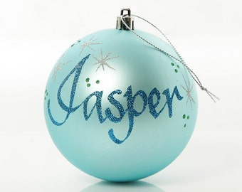 Personalised Light Blue Shatterproof Bauble - Large