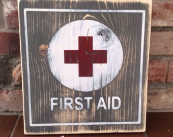 Vintage first aid painted wood sign. First aid station. Bathroom, doctor or nurses office decor.