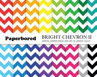 BRIGHT CHEVRON II Digital Paper Pack, Bright Chevron Papers in Assorted Colours / Bright Zig Zag Paper / Instant Download