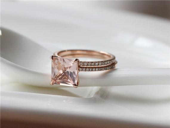 princess cut 8mm morganite ring set 14k gold morganite