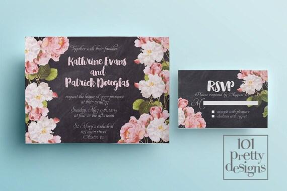 Botanical Wedding Invitation Template Printable Wedding - Garden wedding invitations templates