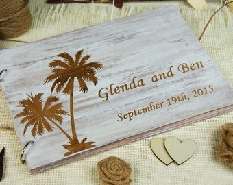 Rustic Unique Distressed wood Wedding-Anniversary-Bridal shower guest book, Personalized gift, Memory album, Laser engraved, Rustic Wedding