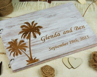 Personalized Distressed Beach Wedding Guest Book, Anniversary, Bridal Shower, Gift for Couple, Memory Book, Wedding Keepsake, Advice Book