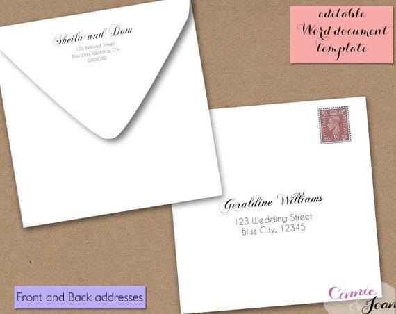Printable Wedding 6x6 envelope template, 6 x 6 invitation ...