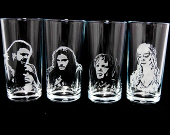Game of Thrones character drinking glasses