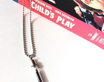 Child's Play / Recycled Necklace // VHS Movie Necklace // Vintage Film in a Vial Necklace // Jewelry Secret Necklace