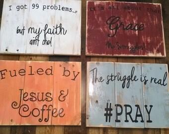 Fun and Sassy Christian wall decor, rustic Christian art,  Christian home decor, Christian signs, rustic wall hanging, Hip Christian art