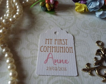 Personalized Communion Favor Tags - First Communion Tags - First Holy Communion- Boy & Girls Tags - Set of 25 to 300 pieces Mini tag
