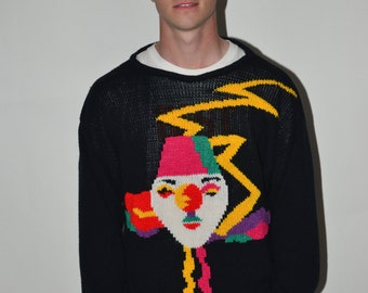 Funny VINTAGE JOKER SWEATER Mardi Gras Joker themed Colorful Funny Ugly Interesting Sweater