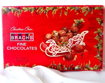 Vintage Christmas Candy Box, Empty Brach's Chocolate Box