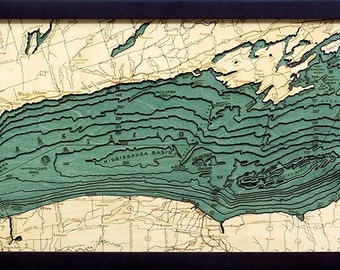 Lake Ontario 3D Wood Chart