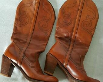 Leather Cowboy Boots Sz 6
