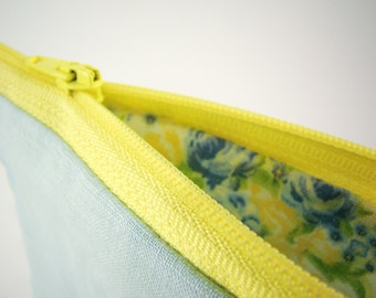 Light Blue Linen Purse with Cotton Floral Inside, Small Handmade Pouch with Yellow Zipper, Small Makeup Bag