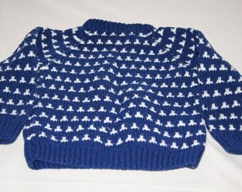 Vintage 1960's - Hand knit children's sweater in Blue and Cream