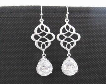 Sparkling, Cubic, Celtic Knot, Earrings, Bridesmaid, Earrings, Dangle, Drop, Silver, Earrings, Hook, Earrings, Cubic, Zirconia, Simple