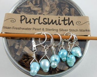 Set of 6 Aquamarine Freshwater Pearl and Sterling Silver Wire Stitch Markers,Gift for Knitter,Snag-Free Stitch Markers,Knitting Notion