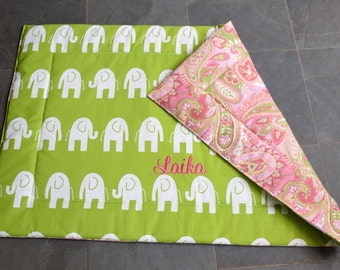 Dog Training Mat || Medium Crate Bed Pink and Green || Custom Elephants Paisley Puppy Gift by Three Spoiled Dogs