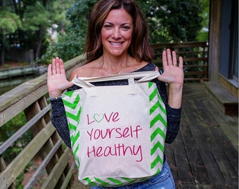 Love Yourself Healthy ~ Apple Green ~  Market Tote Bag