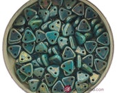 10g CzechMates 2 hole triangle beads Persian Turquoise BRONZE PICASSO 6mm triangles [B41]