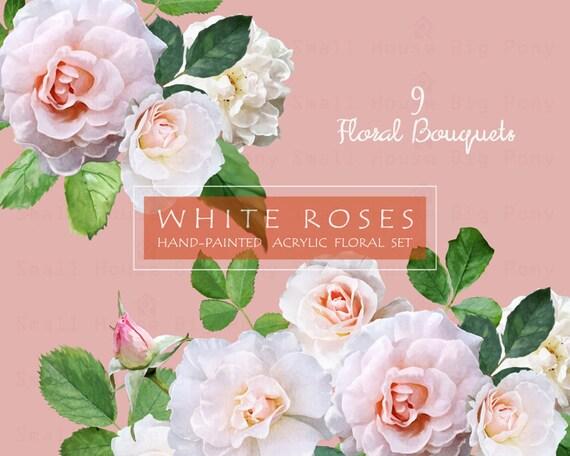 Hand Drawn Watercolor Flowers, Clip art Flower, Floral Clip Art, Scrapbooking - White Roses (Bouquets)