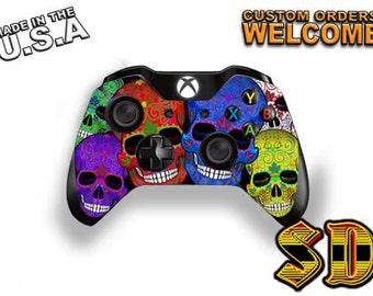 Dia de los Muertos Sugar Skull Xbox 1 Controller Wrap - Xbox 360 controller Red & Blue Pair Skull Gaming Controller- Decal Skin X1C-1036