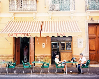 Spain Photography - Fine Art Photography - Wall Art Print - Spanish Street Cafe Art - Malaga Print - Men at Cafe Print - Spanish art - Gift