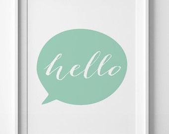 Mint art, wall prints, printable art, mint nursery print, Digital, art, printable wall decor, Green prints, Hello poster, typography poste