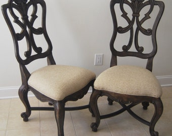 Pair Reclaimed Wood Back Chairs