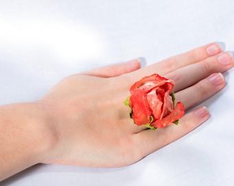Rose flower ring, Coral ring, Orange ring, Large ring, Oversized ring, Floral ring, Statement ring, Bridal ring, Bridal jewelry