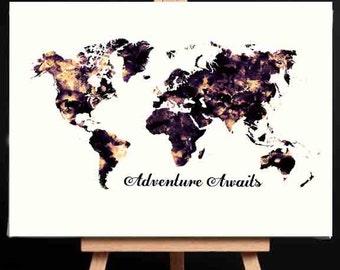 World Map Print, Adventure awaits, Modern World Map, Blue World Map, World Map Art, World map Wall Art, Large World Map Poster, Large Map