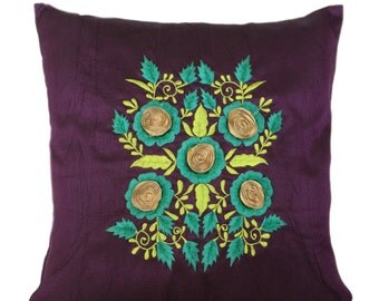 Floral Embroidery Pillow Cover Blue Purple Botanical Pattern Throw Pillow Accent Pillow Size 14x14 16x16 18x18 20x20 22x22