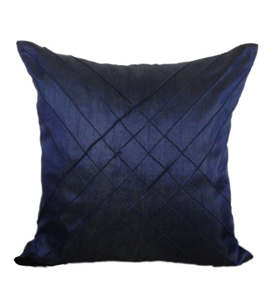Dark Blue Throw Pillow : Dark Blue Decorative Pillow Cover Solid by TheWhitePetalsDecor