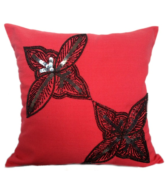 Coral Pillow Covers Coral Color Accent By TheWhitePetalsDecor