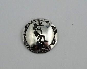 Vintage Southwest Native American Kokopelli Dancer Sterling Silver Concho Pendant
